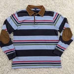 Lands End Rugby Polo Shirt Men Medium Corduroy A36